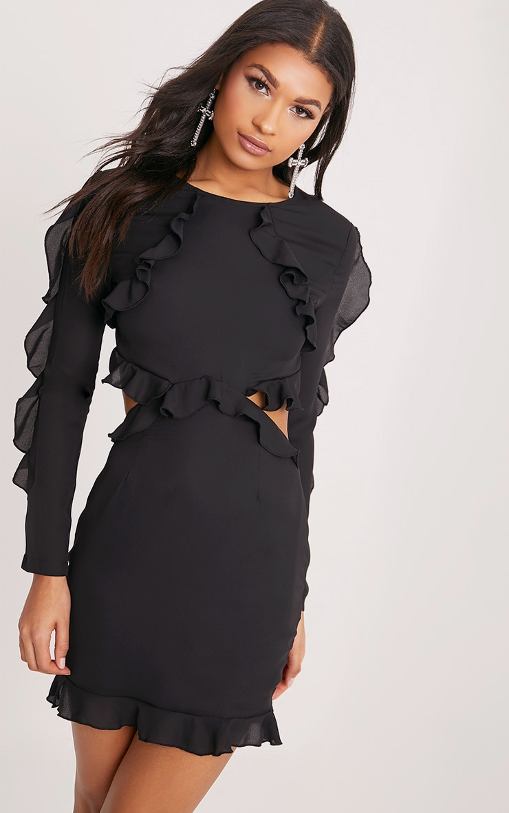 Steph Black Frill Detail Open Back Bodycon  1