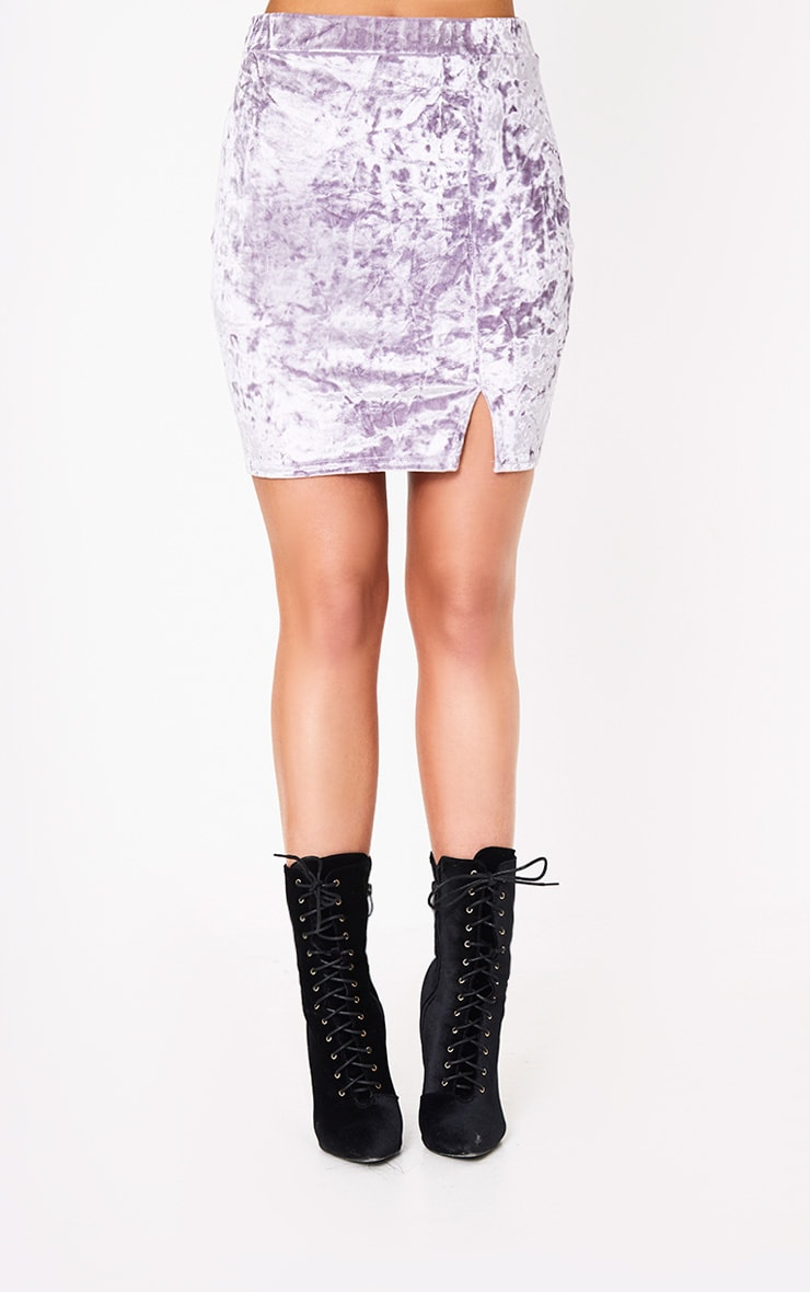 Lilac Velvet Split Mini Skirt 2