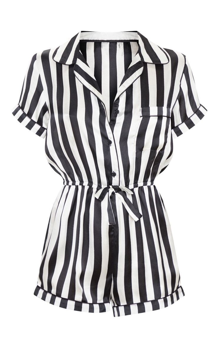 Black And White Button Front Satin Romper 3
