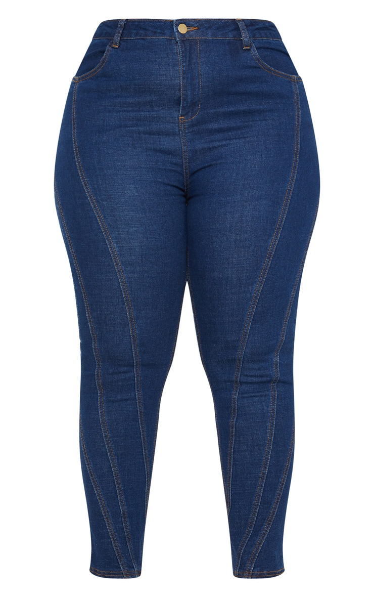 Plus Mid Wash Seam Detail Skinny Jeans 3