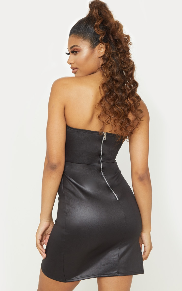Tall Black PU Zip Back Bandeau Bodycon Dress 2