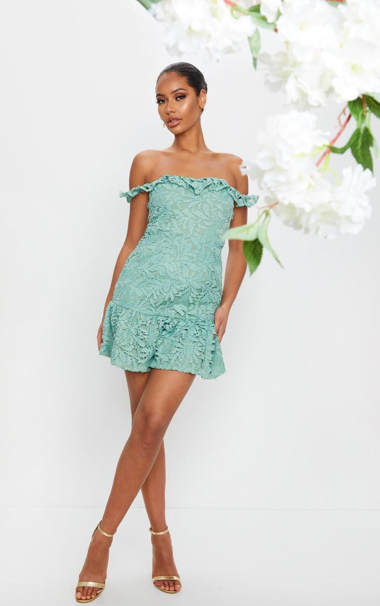 Sage Green Lace Bardot Frill Hem Bodycon Dress 1