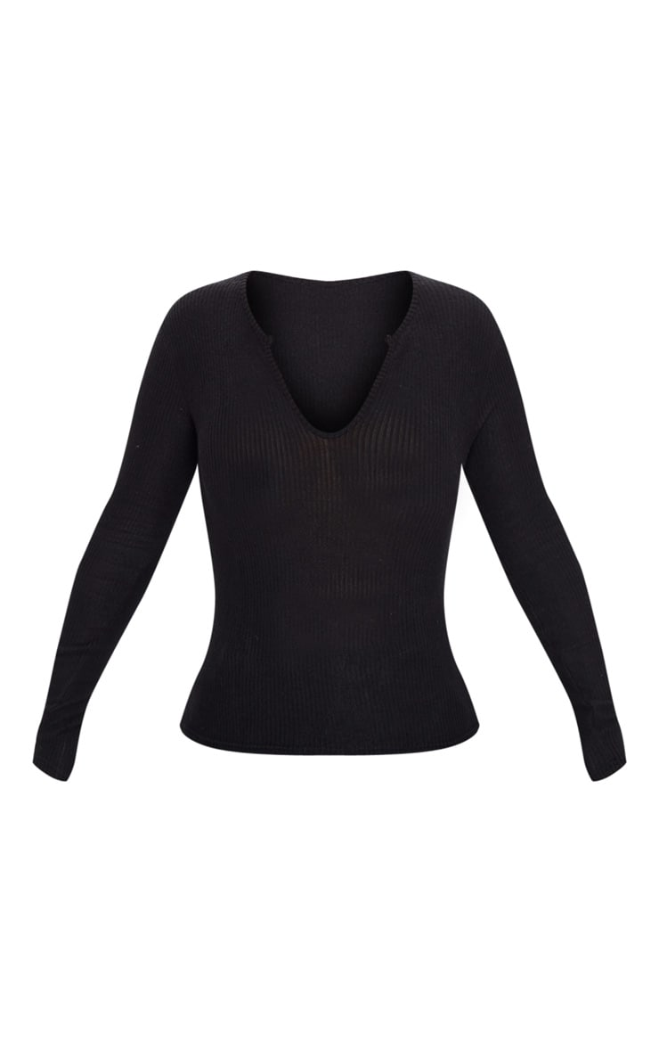 Black Brushed Rib Plunge Long Sleeve Top 3