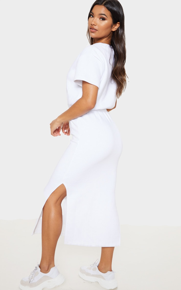 White Elastic Waist Sweater Midi Dress 2