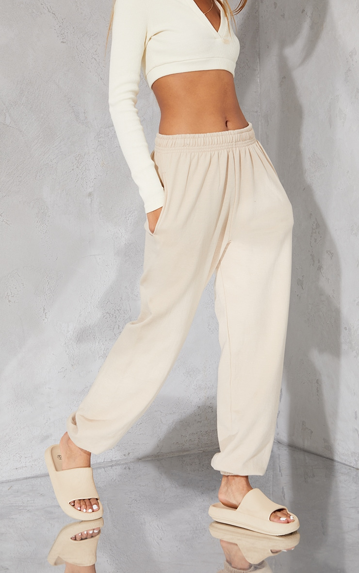 PRETTYLITTLETHING Taupe Branded Apparel Joggers 2