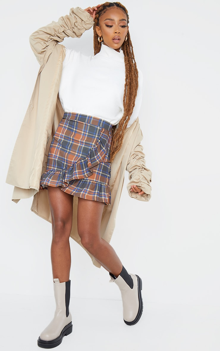 Brown Check Frill Hem Wrap Mini Skirt 1