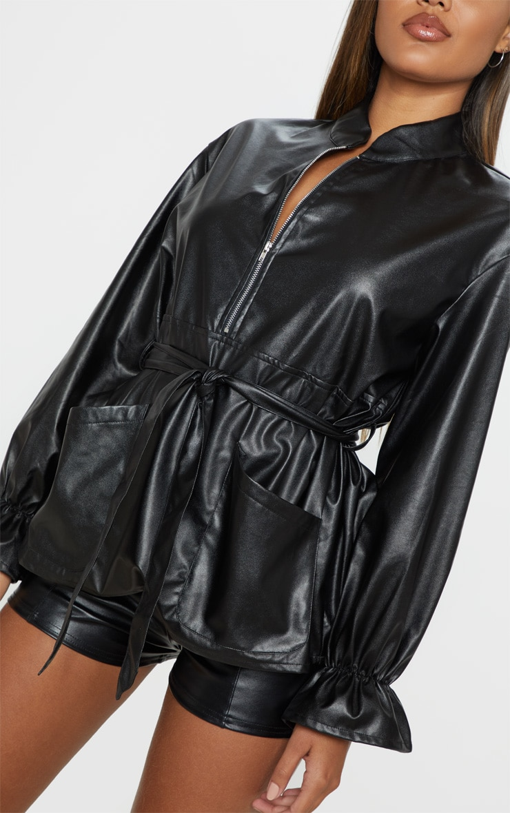 Black Faux Leather Zip Front Belted Top 5
