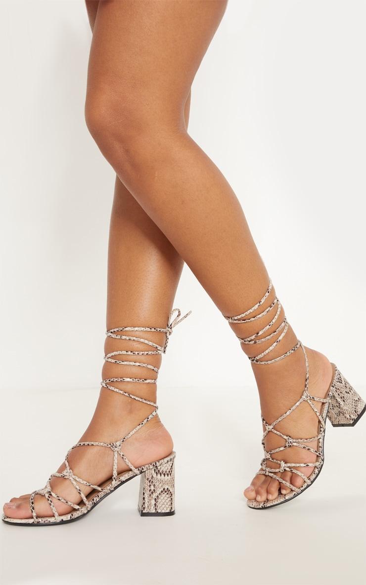 Snake Block Heel Leg Tie Sandal 2