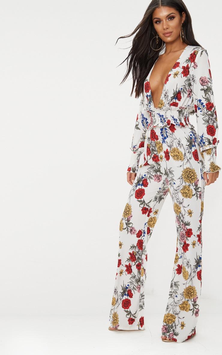 White Floral Shirring Waist Detail Jumpsuit 4