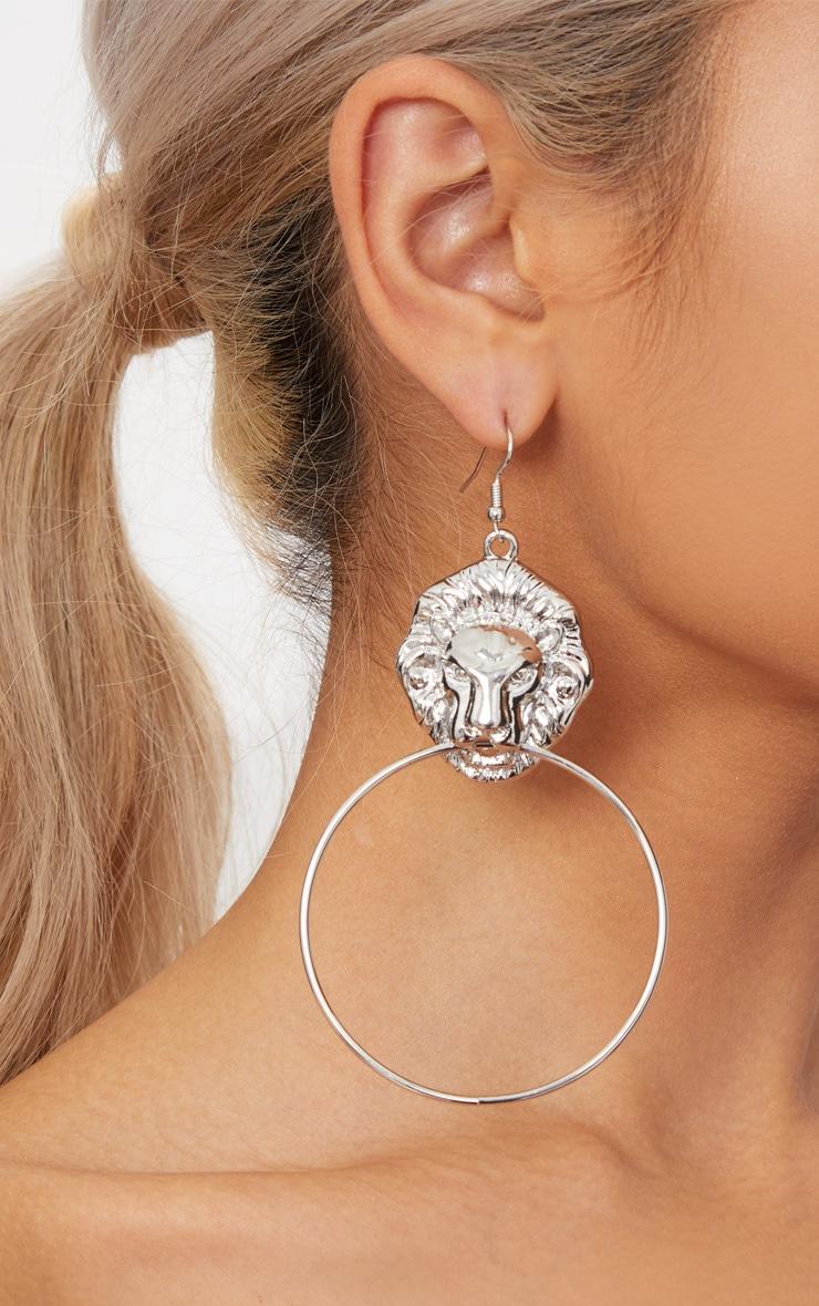 Silver Lion Drop Oversized Hoop Earrings 2
