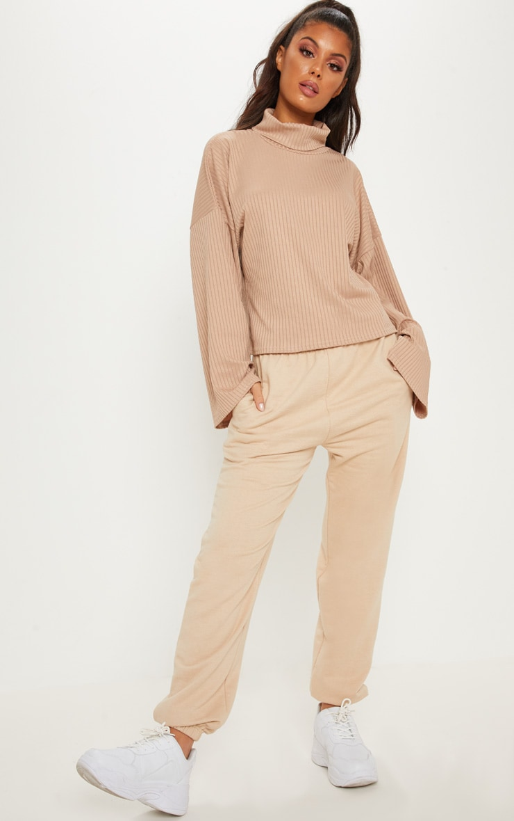 Sand Rib High Neck Flare Sleeve Top
