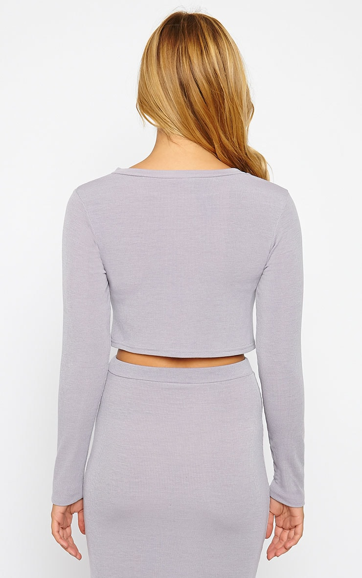 Basic Grey Long Sleeve Premium Ribbed Crop Top 2