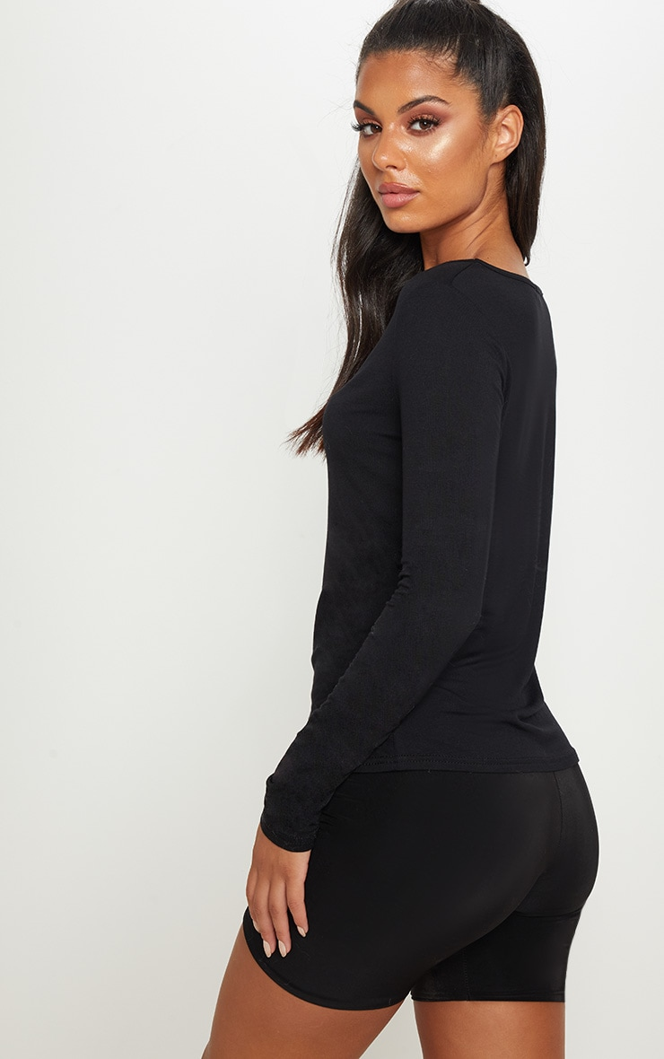 Black Jersey Ruched Front Long Sleeve Top 2