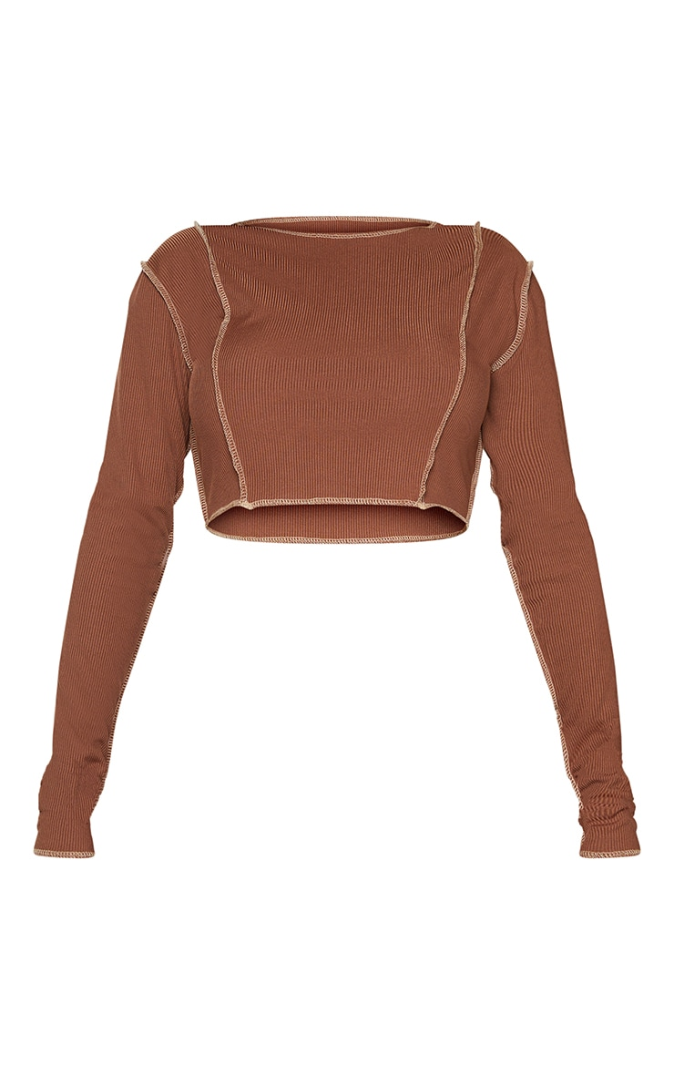 Shape Chocolate Brown Rib Overlock Seam Detail Crop Top 5