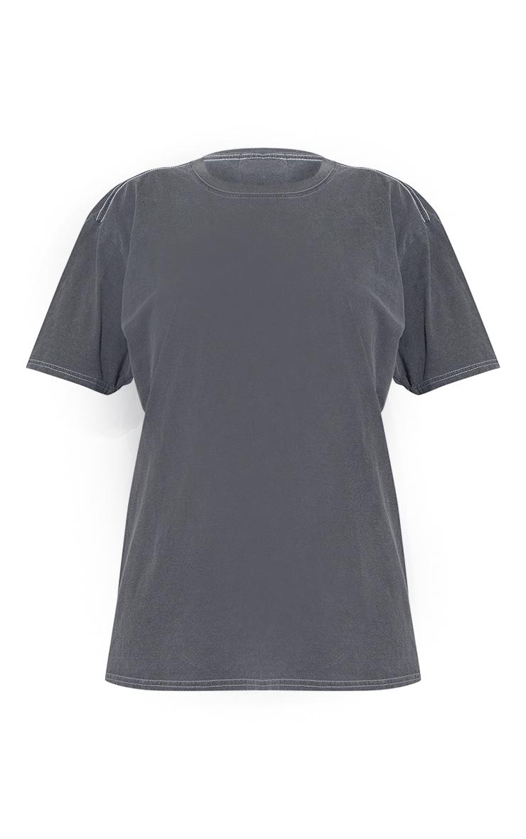 Grey Worldwide Back Print Washed T Shirt 5