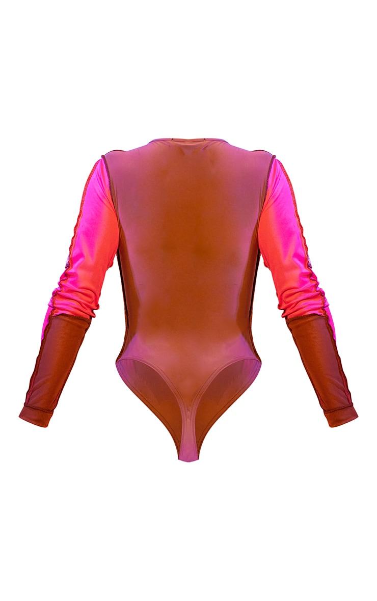 Shape Pink Mesh Panel Detail Lace Up Long Sleeve Bodysuit 6