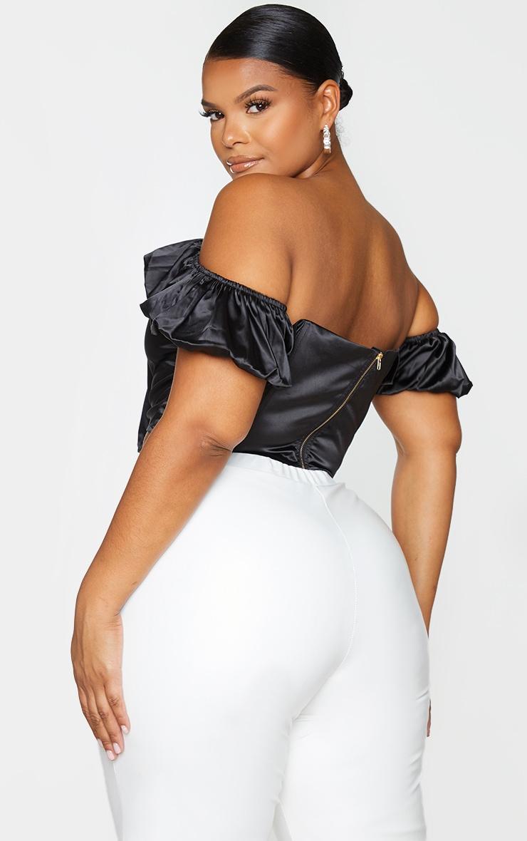 Plus Black Structured Satin Bardot Corset 2