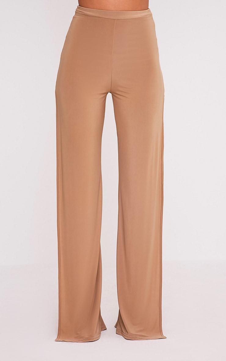 Darsee Camel Side Split Slinky Trousers 2