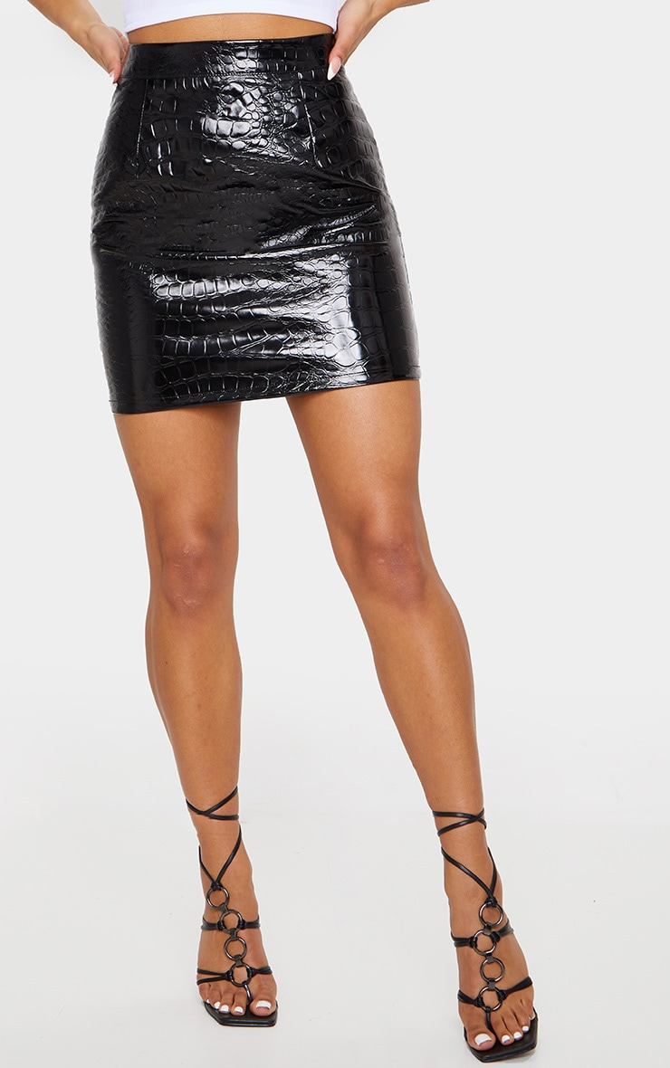 Black Croc Print Vinyl Mini Skirt 2