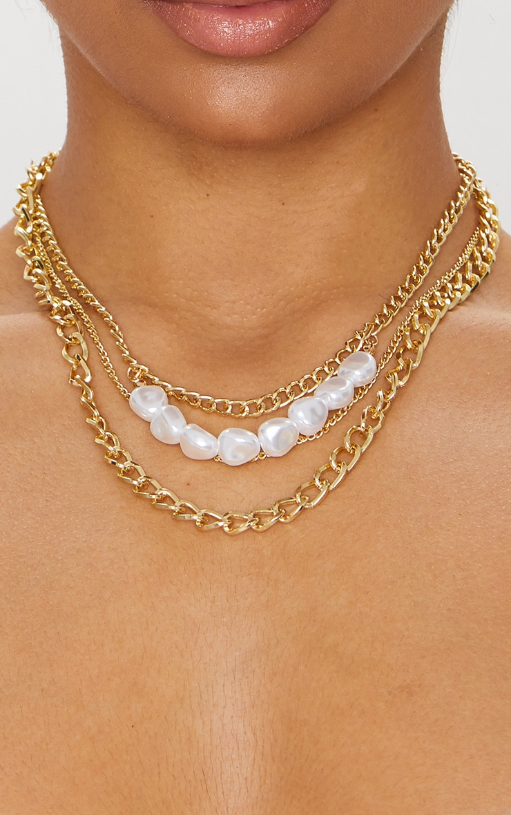 Gold Layered Chain Pearl Necklace 2