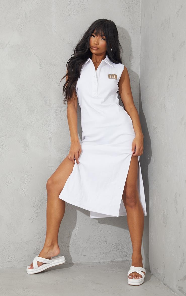 PRETTYLITTLETHING White Thick Rib Polo Collar Midi Dress 1