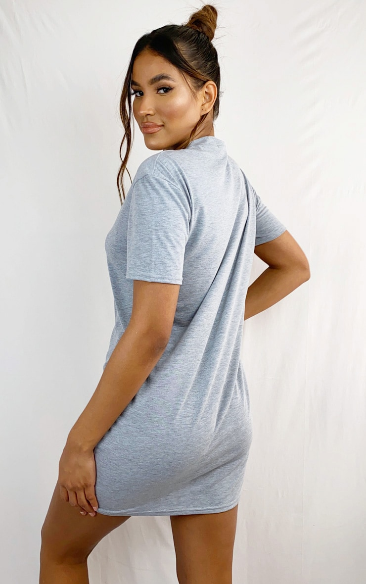 Grey Marl Basic Fitted T Shirt Dress 2