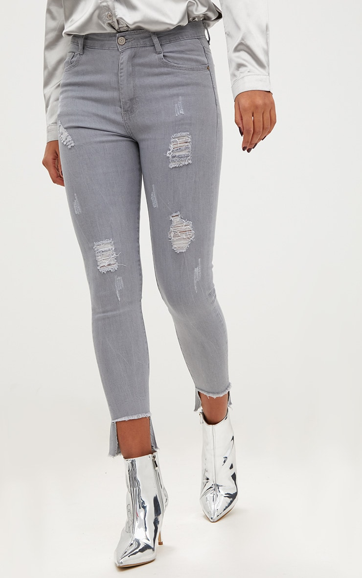 Light Grey Distressed High Waisted Skinny Jean 2
