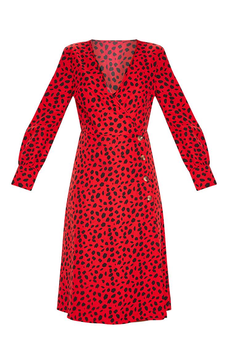 Red Dalmatian Print Tortoise Shell Button Midi Tea Dress 3