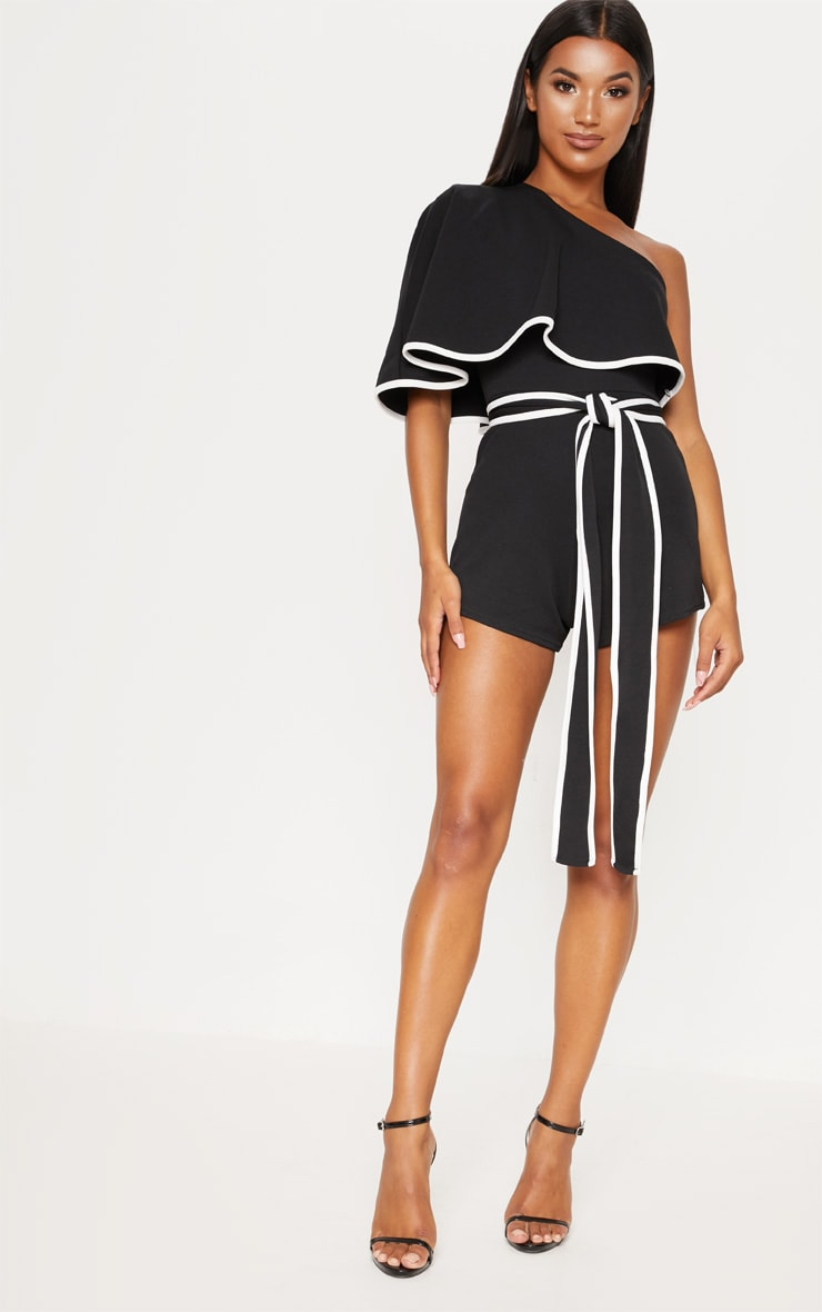 Monochrome Contrast One Shoulder Playsuit 1