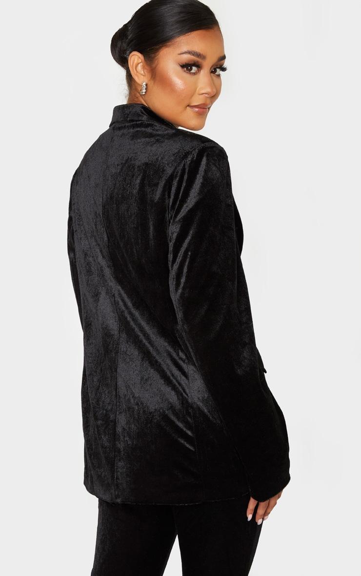 Black Longline Velvet Blazer 2