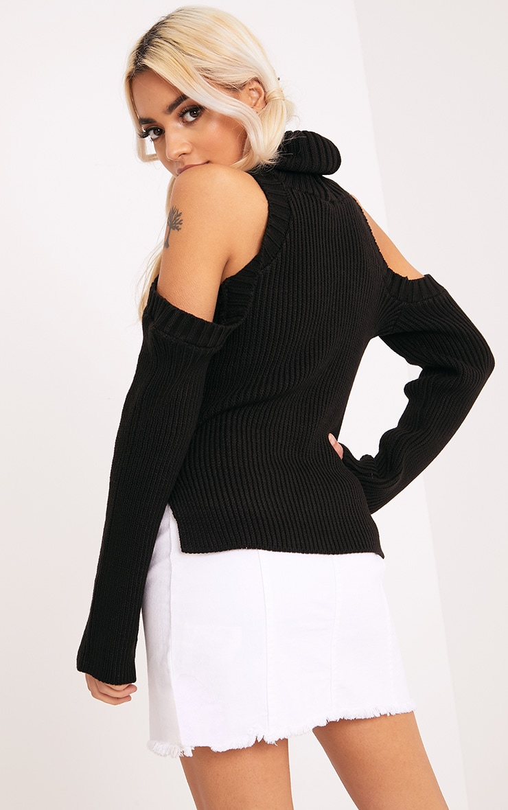 Piper Black Cut Out Shoulder Jumper 2