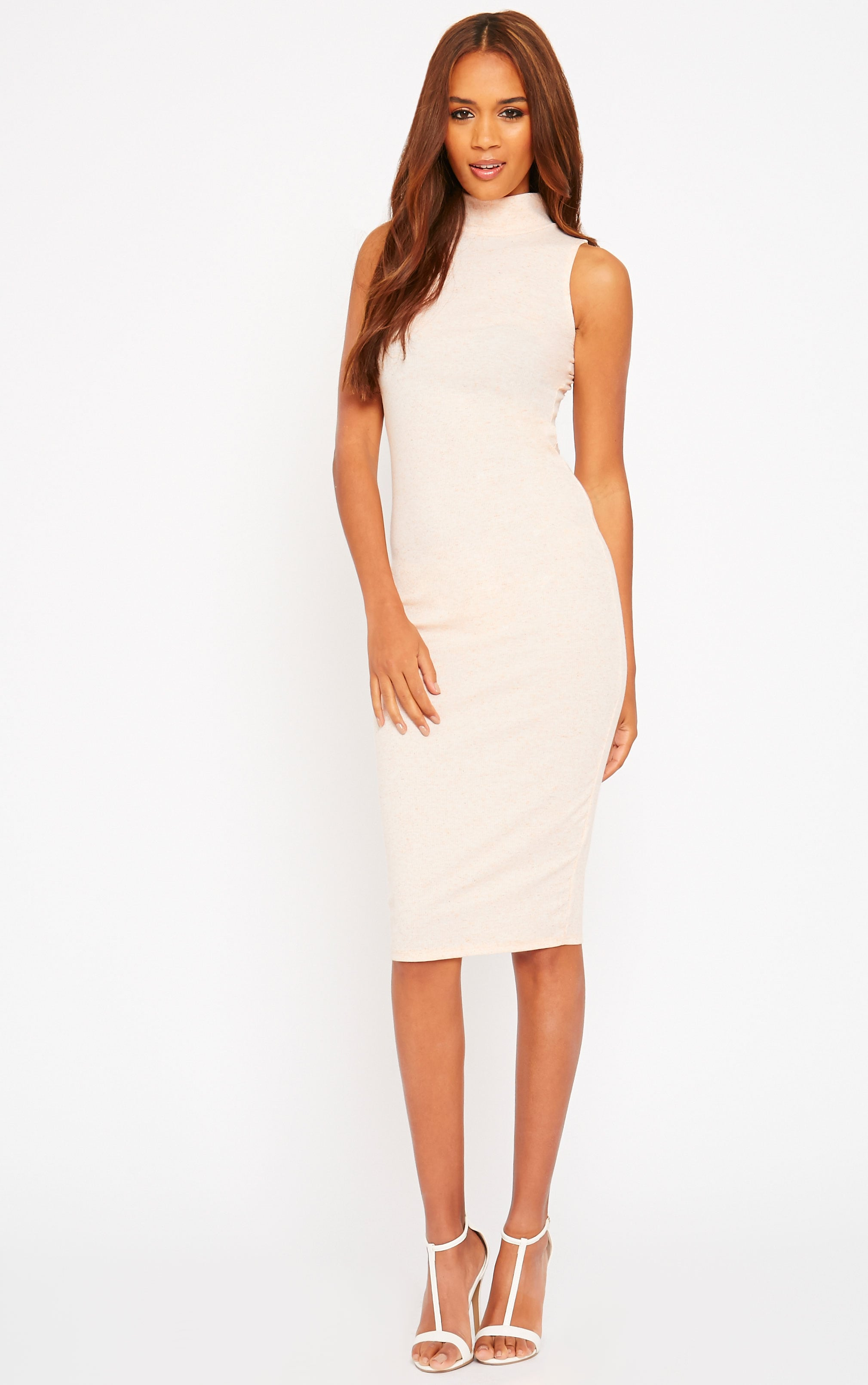 Basic Nude High Neck Dress 1
