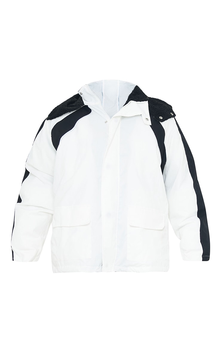 White Padded Contrast Panel Pocket Front Hooded Lined Puffer Coat 5