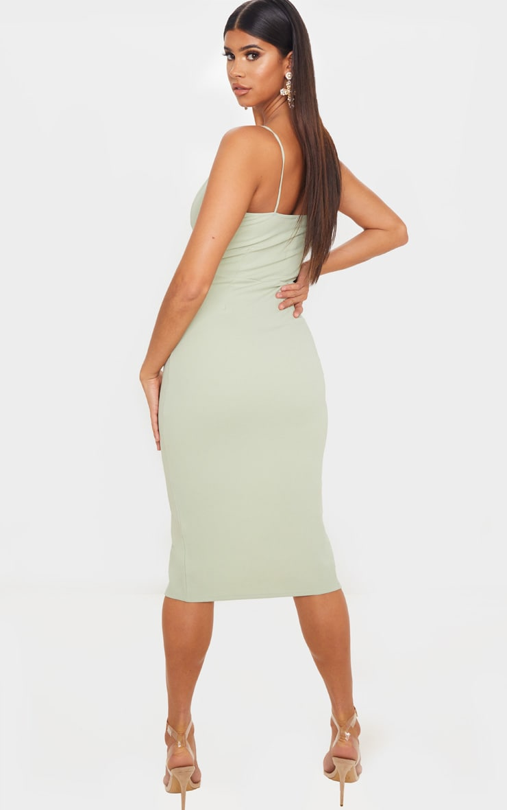 Sage Green Strappy Plunge Midi Dress 2