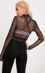 Janie top court manches longues col montant tulle noir image 2 7a44acdfda9