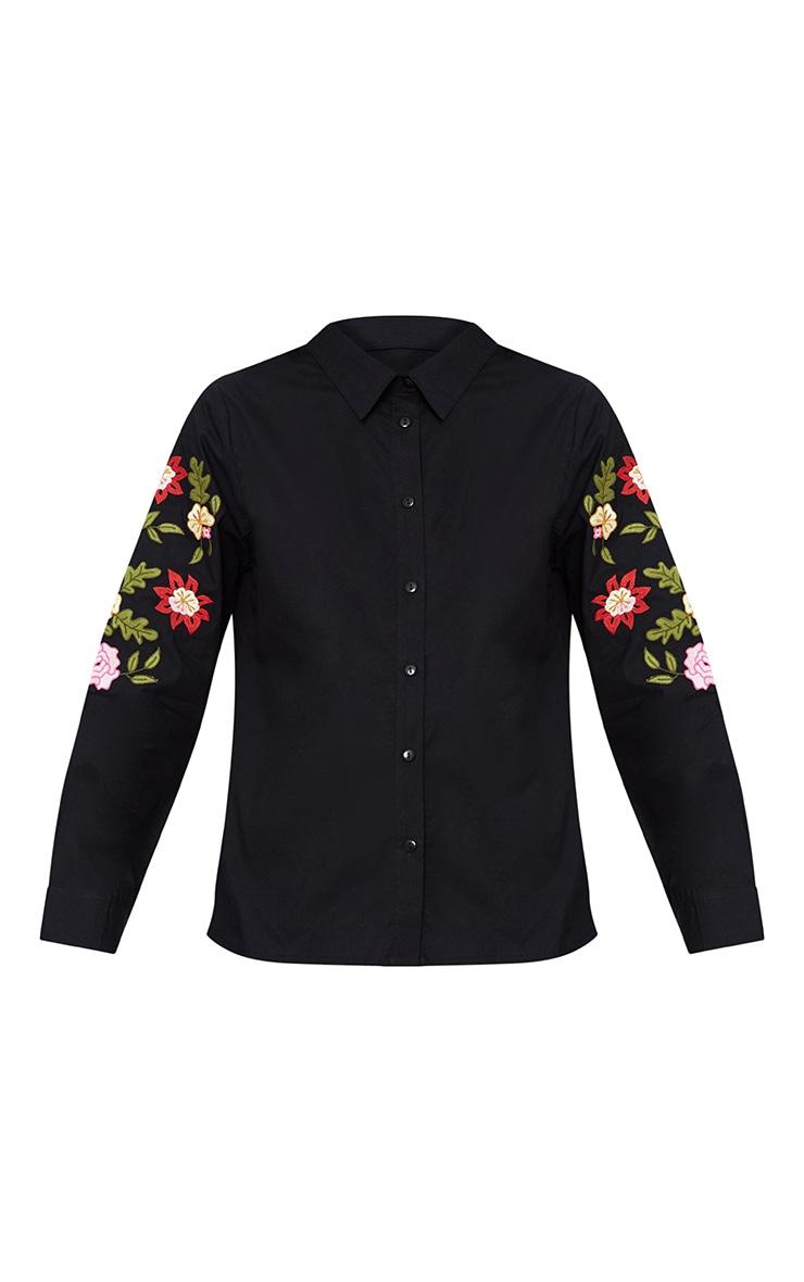 Black Floral Embroidered Shirt 3