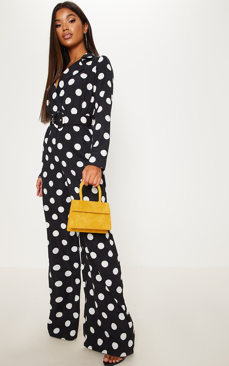 Monochrome Polka Dot Belt Detail Wide Leg Jumpsuit 4