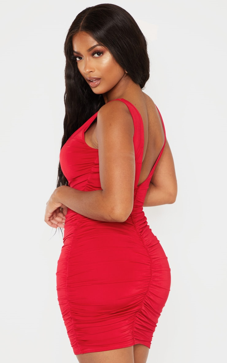 Shape Red Plunge Ruched Skirt Bodycon Dress 2