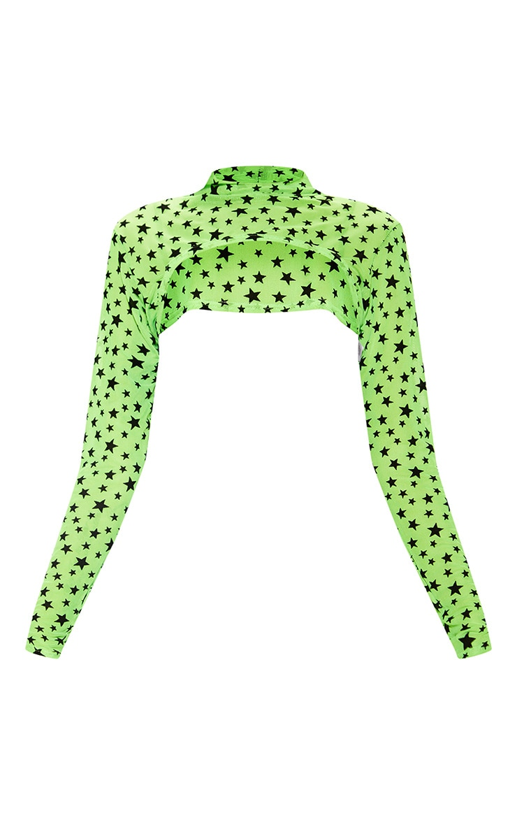 Neon Lime Star Flock Mesh Extreme Long Sleeve Crop Top 3