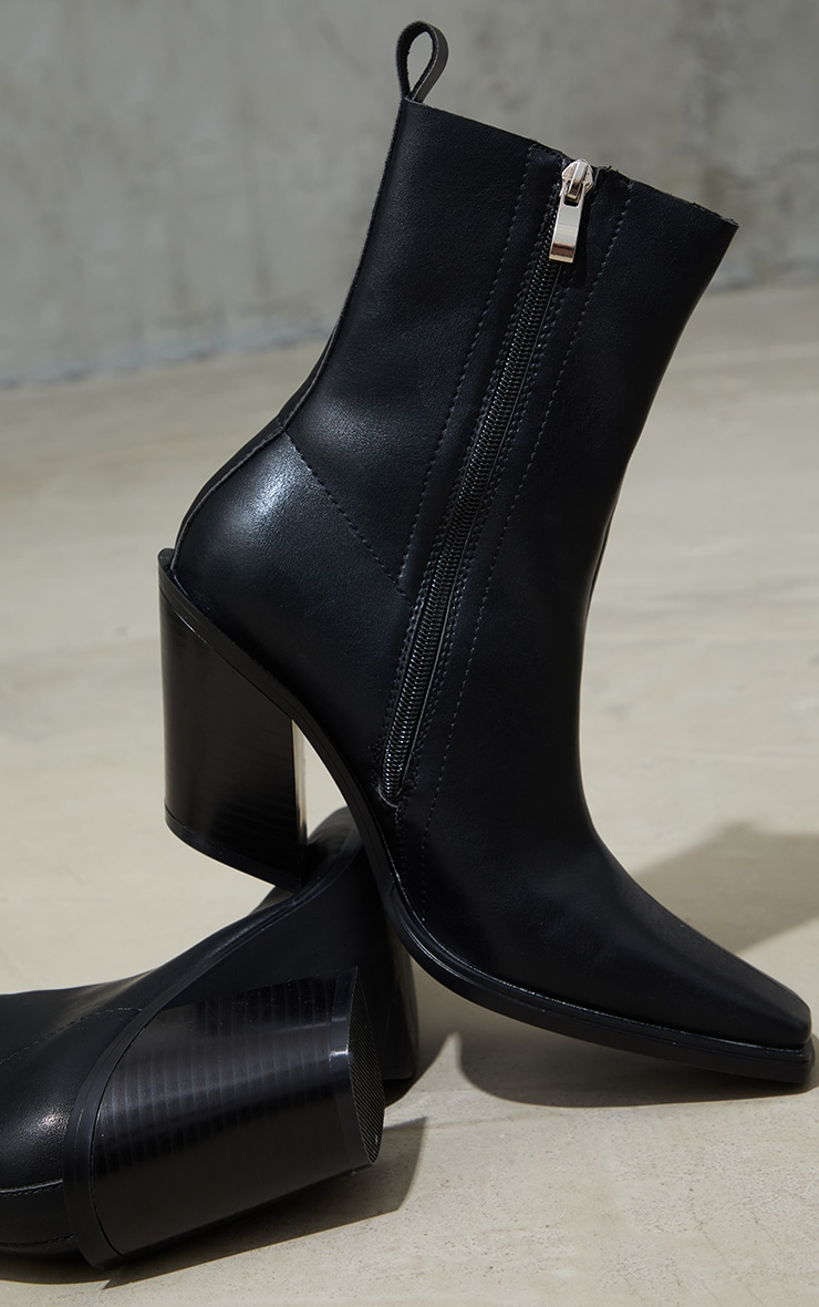 Black PU Square Pointed Toe Heeled Western Boots 4
