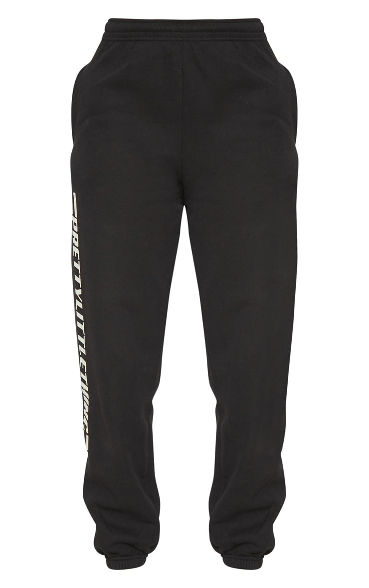 PRETTYLITTLETHING Black Logo Stripe Track Pants 3
