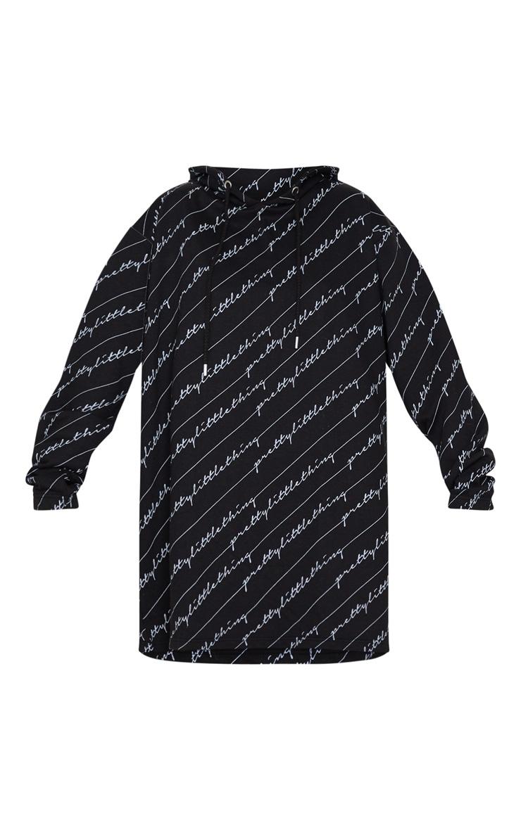 PRETTYLITTLETHING Black Slogan Hoodie Dress 3