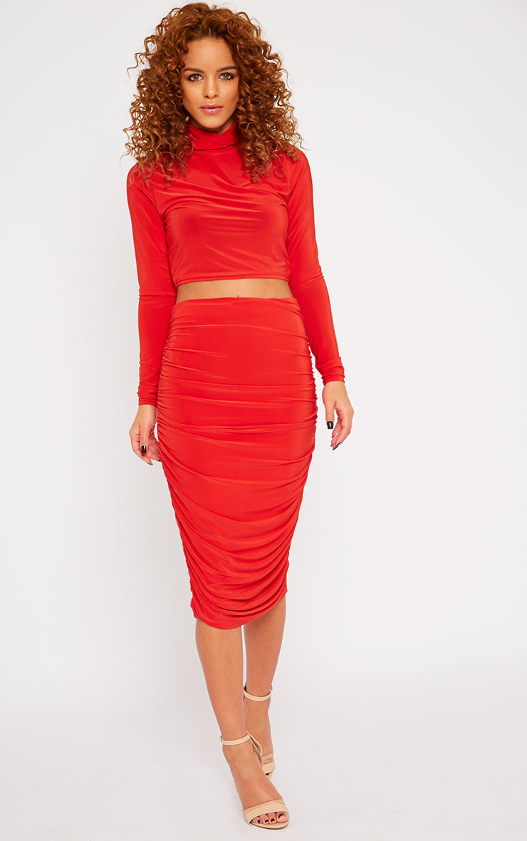 Saylor Red Slinky Gathered Midi Skirt 5