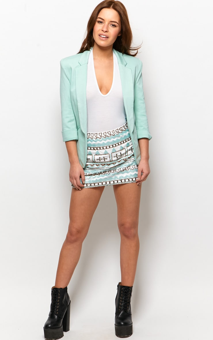 Dalla White Aztec Embellished Mint Skirt 3