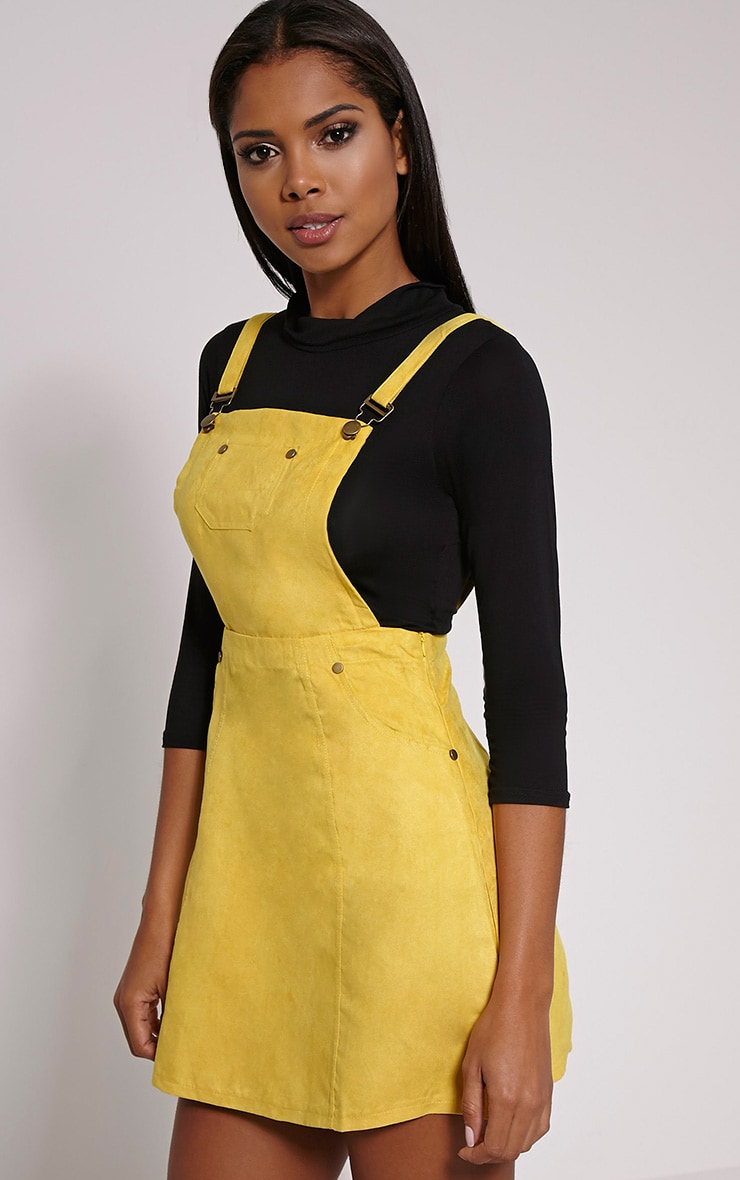 Lumie Mustard Faux Suede Pinafore Dress 4