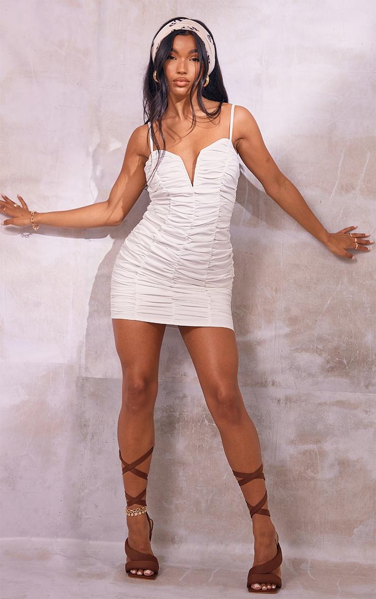 White Ruched Strappy V Bar Bodycon Dress 3