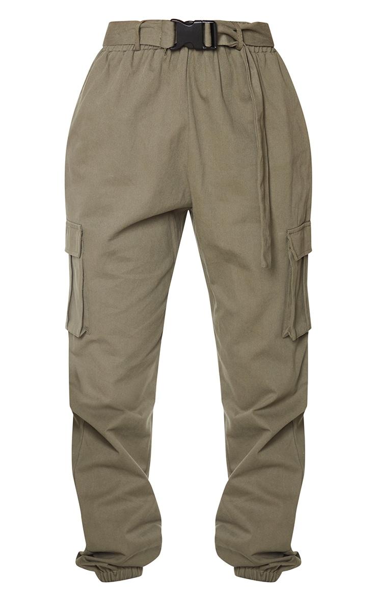 Khaki Buckle Detail Cargo Trousers 5