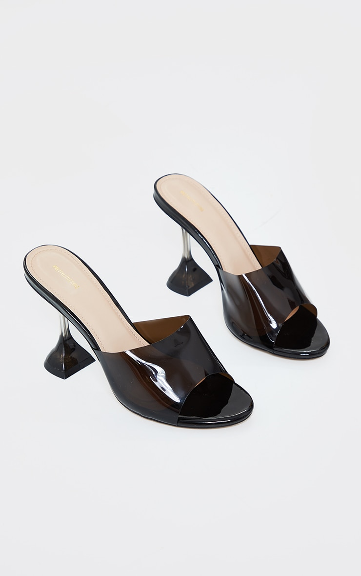 Black Wide Fit Cake Stand Clear Mule Heels 3