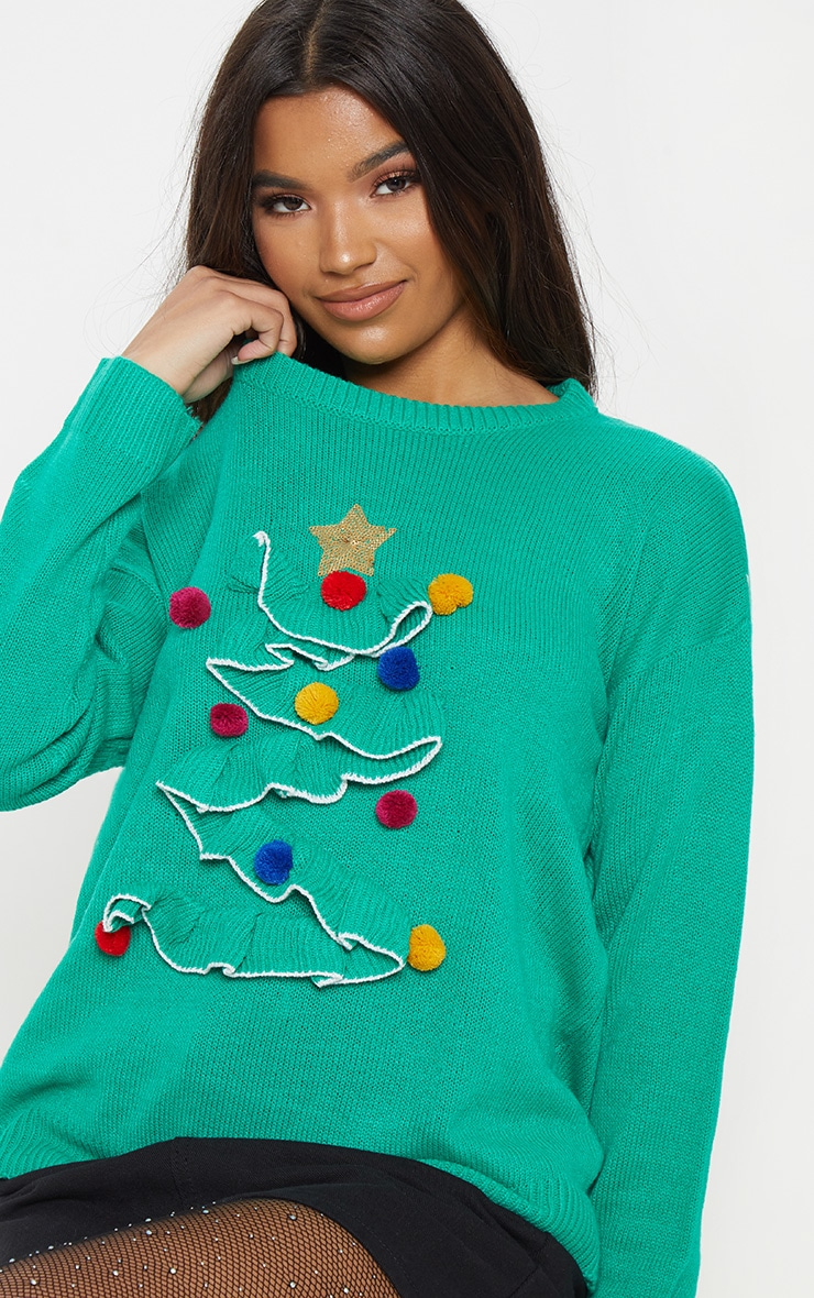 Green Christmas Tree Knitted Sweater 5