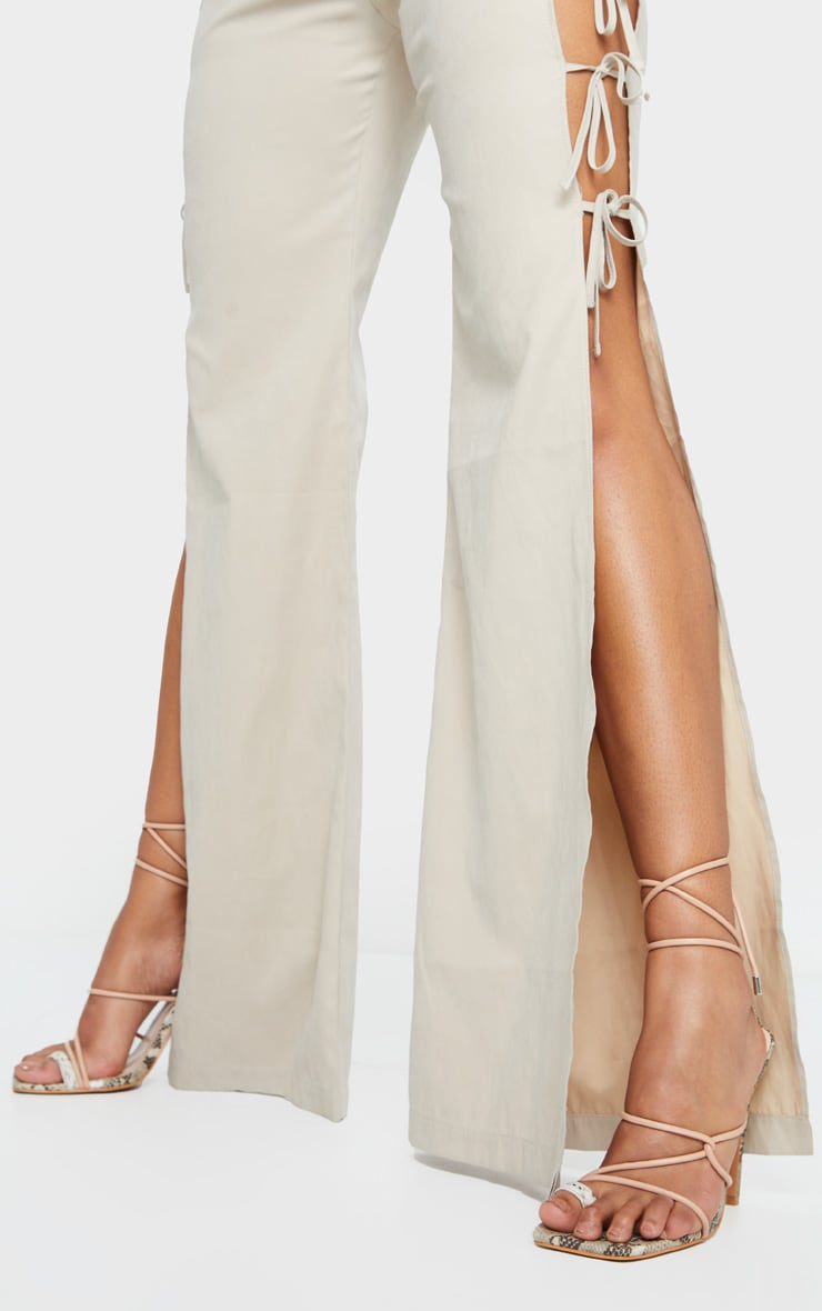 Beige Contrast Snake Square Toe Lace Up Strappy Top Loop Heeled Sandals 1